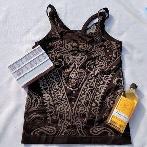 Brown patterned athleta running tank top size M